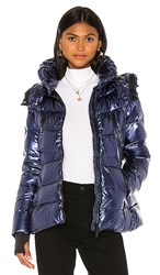 Add Down Jacket With Detachable Hood In Blue. Blue Metal