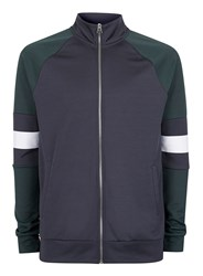 Topman Blue Green And Navy Panelled Track Top
