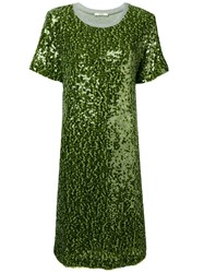 Odeeh Sequin T Shirt Dress Green