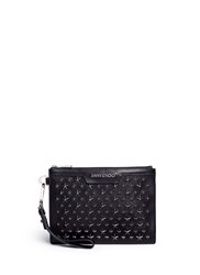 Jimmy Choo 'Derek' Star Embellished Leather Mini Zip Pouch Black