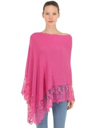 Pink Memories Linen And Lace Poncho Fuchsia