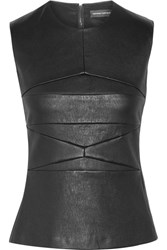 Narciso Rodriguez Paneled Leather Top Black
