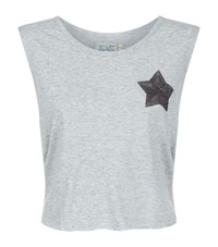 Sandrine Rose Cropped Slogan T Shirt Grey