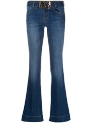 Pinko Flare Fit Belted Jeans Blue