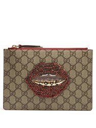 Gucci Merveilles Gg Supreme Mouth Embellished Pouch Red Multi