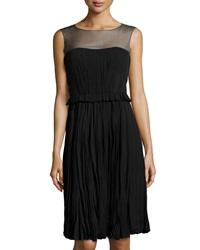 Philosophy Di Alberta Ferretti Pleated Mesh Neck Dress Black