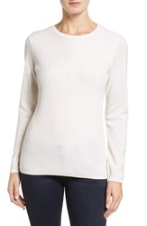 Nordstrom Women's Collection Mitered Rib Cashmere Pullover Ivory Soft
