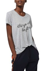Women's Topshop By Tea And Cake 'Things Will Be Fine' Embroidered Tee