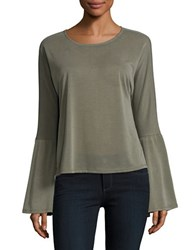 Design Lab Lord And Taylor Roundneck Bell Sleeve Blouse Olive