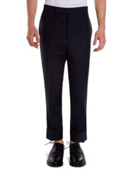 Thom Browne Backstrap Wool And Mohair Blend Trousers Navy