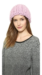 1717 Olive Chunky Knit Beanie Pink Cotton