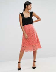 Warehouse Lace Midi Skirt Peach Orange