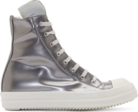 Rick Owens Silver Leather High Top Sneakers