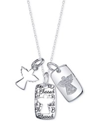 Unwritten Cubic Zirconia Three Angel Pendant Necklace In Sterling Silver