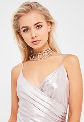 Missguided Silver Queen Diamante Choker Necklace