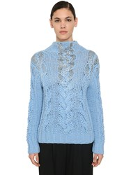 Ermanno Scervino Embellished Wool And Acrylic Knit Sweater Light Blue