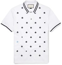 Gucci Slim Fit Embroidered Cotton Blend Pique Polo Shirt White