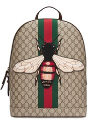 Gucci Web Animalier Backpack With Bee Men Leather Nylon Canvas Microfibre One Size Nude Neutrals