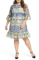 Eci Plus Size Women's Emboidered Ruffle Sleeve Dress Blue