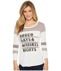 Rock And Roll Cowgirl 3 4 Sleeve Tee 48T5552 White T Shirt