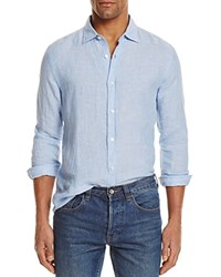Bloomingdale's The Men's Store At Linen Striped Regular Fit Button Down Shirt Blue White