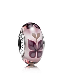 Pandora Design Pandora Charm Sterling Silver And Murano Glass Butterfly Kisses Moments Collection Silver Pink