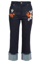 Osman Woman Cropped Embellished High Rise Straight Leg Jeans Dark Denim