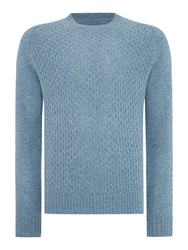 Peter Werth Dykan Pattern Crew Neck Pull Over Jumpers Blue