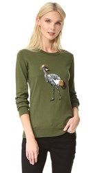 Markus Lupfer Sequin Bird Sweater Khaki