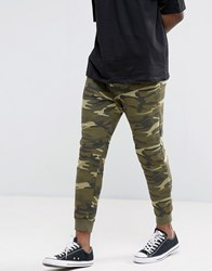 Pull And Bear Pullandbear Skinny Joggers In Khaki Camo Khaki Green