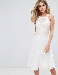 Elise Ryan Pleated Dress With Cutaway Lace Bodice White