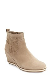 Women's Geox 'Illusion' Perforated Wedge Bootie Light Taupe Suede