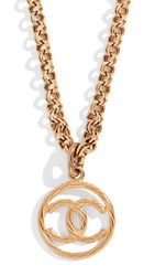 Wgaca What Goes Around Comes Around Chanel Cc On Round Necklace Gold