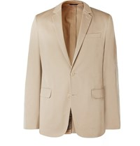 Fendi Beige Unstructured Suede Panelled Cotton Gabardine Blazer Neutrals