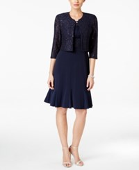 Jessica Howard Sequined Floral Lace Dress And Jacket Navy