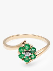 A B Davis 9Ct Gold Emerald And Diamond Flower Cocktail Ring Gold Green