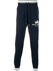 Dolce And Gabbana Logo Print Track Pants Blue
