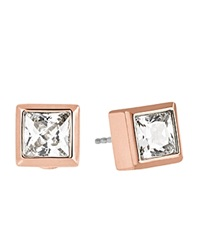Michael Kors Square Cubic Zirconia Stud Earrings Rose Gold Clear