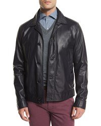 Ermenegildo Zegna Napa Lambskin Leather Jacket Midnight Midnit