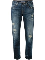 Jacob Cohen Distressed Cropped Jeans Women Cotton Spandex Elastane 30 Blue