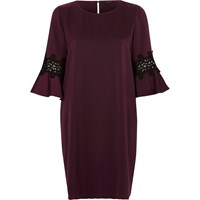 River Island Womens Dark Purple Trumpet Sleeve Swing Dress