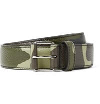 Givenchy 3Cm Camouflage Print Full Grain Leather Belt Army Green