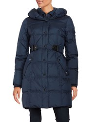Larry Levine Belted Down Puffer Coat Navy