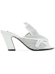 N 21 No21 Abstract Bow Heeled Mules White