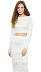 Torn By Ronny Kobo Arielle Pointelle Crop Top White