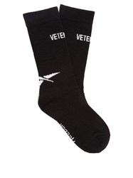 Vetements Logo Cotton Blend Socks Black White
