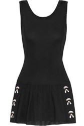 Fendi Karlito Perforated Stretch Jersey Tennis Dress Black