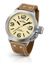 Tw Steel Canteen 45Mm Stainless And Leather Strap Watch Light Tan