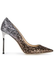 Jimmy Choo Romy 100 Glitter Pumps Black
