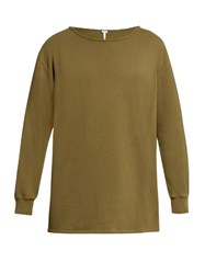 Loewe Destroyed Neck Long Sleeved Cotton T Shirt Khaki